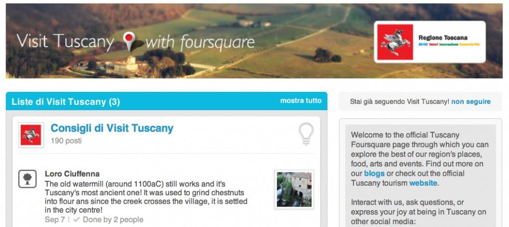 La pagina ufficiale della Regione Toscana su foursquare