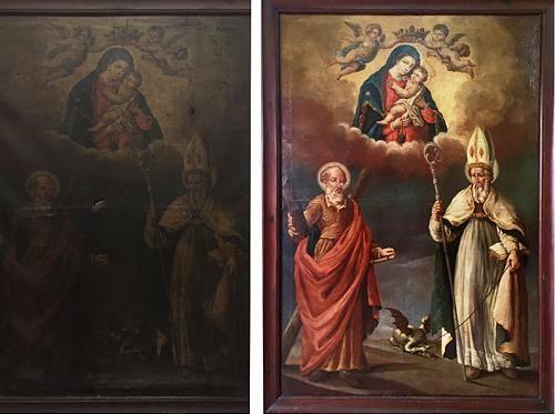 Il quadro prima e dopo (Foto Camminando.org)